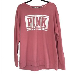 SOLD. VS PINK | Oversized metallic sweatshirt